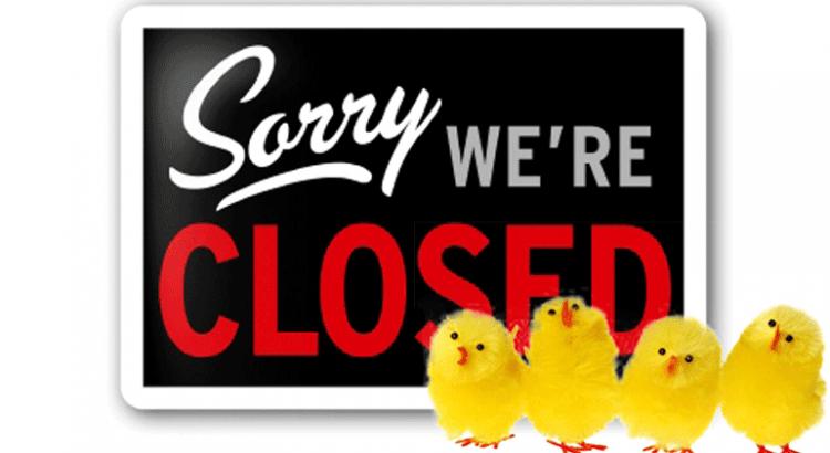 Paasweekeind werkplaats gesloten